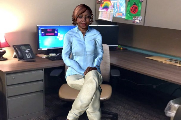 A computer simulation of an African American woman