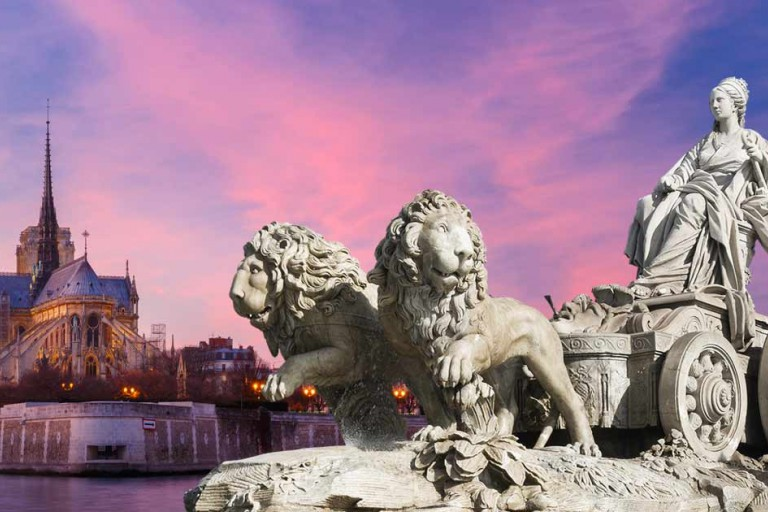 Spanish and French monuments featured together