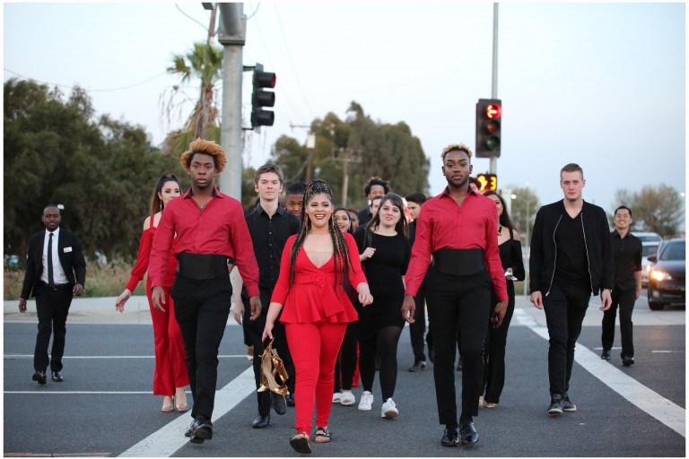IU Soul Revue students walk across the street in L.A.