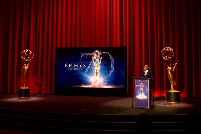 The stage at the 70th Emmy Awards nominations announcement.