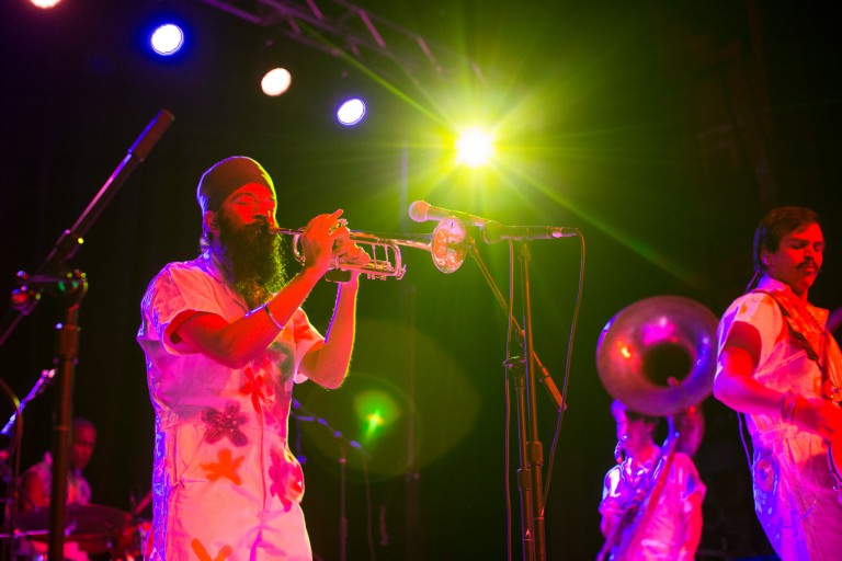 Members of Red Baraat perform at the IMU