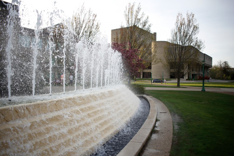 The McKinney fountain in front of the Simon Music Library on the IU Bloomington campus.