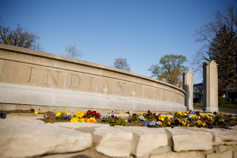 A limestone entrance to the IU Bloomington campus