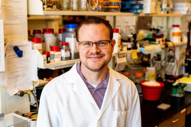 IU School of Medicine faculty member Brady Atwood in a lab