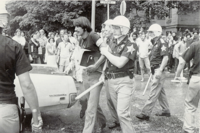 Greg Hess being arrested on campus in 1970