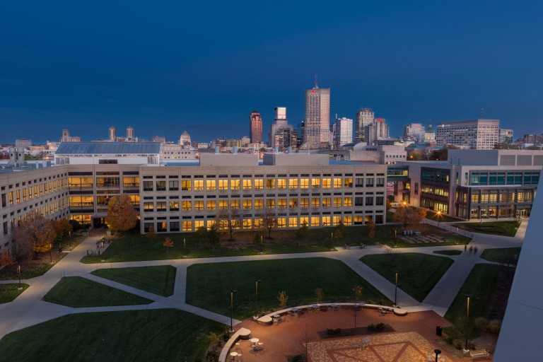 View of the Science Building and the Indianpolis skyline