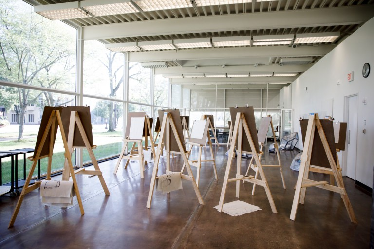 Easels set up in the Republic Building, home of the J. Irwin Miller Architecture Program.