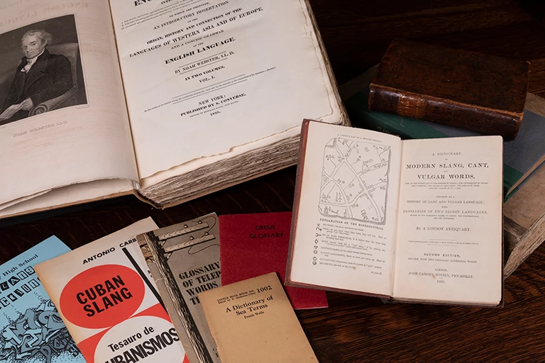 Dictionaries that are part of the Madeline Kripke collection.
