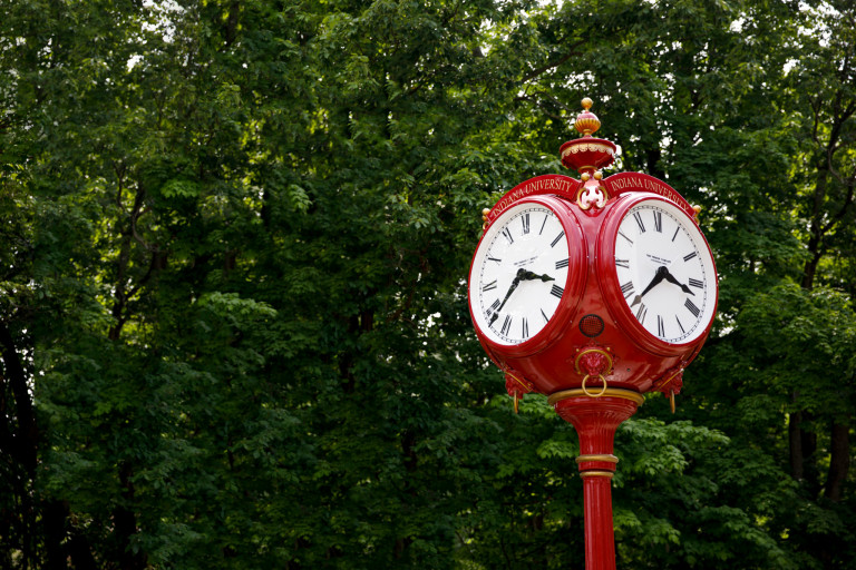 An iconic red clock stands outside the Neal-Marshall Black Culture Center.