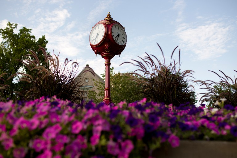 One of IU's red clocks outside of Woodburn Hall