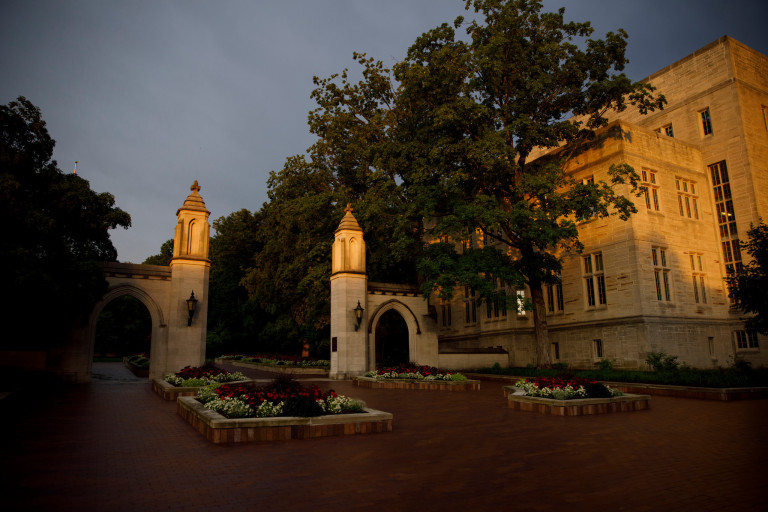 The Sample Gates at sunset on the Indiana University Bloomington campus.