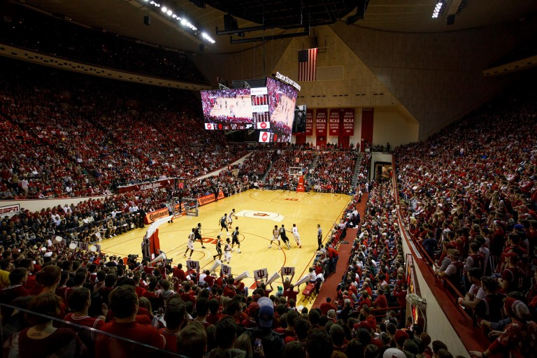 A basketball game at Assembly Hall at IU Bloomington