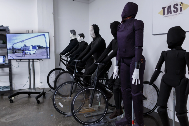 Mannequins and bicycles are stored at IUPUI's Transportation Active Safety Institute