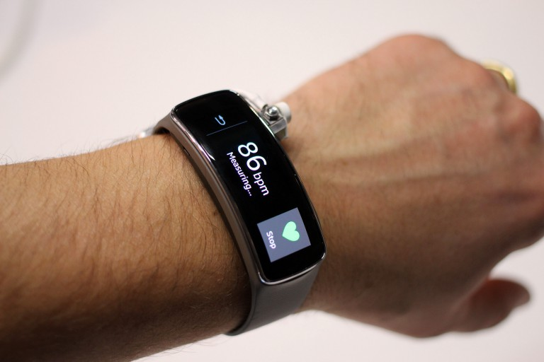 Wearable data-tracking device on a wrist