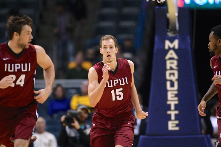 Matt O'Leary runs up the court during an IUPUI basketball game.