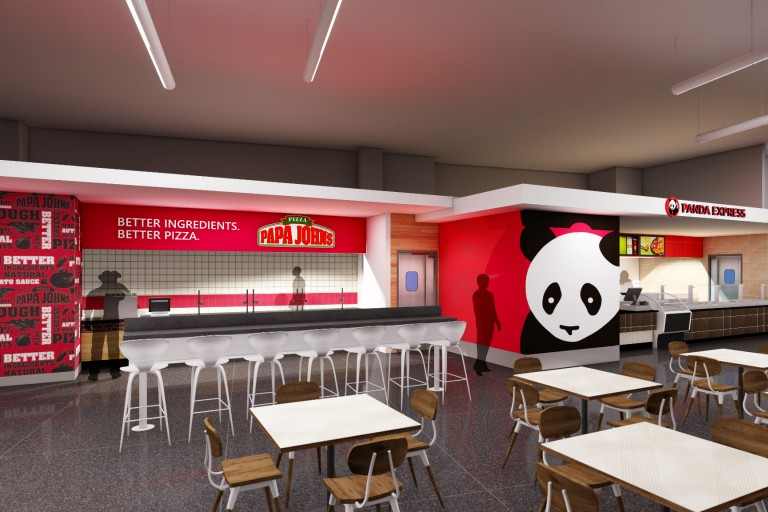 A rendering of the food court's future look