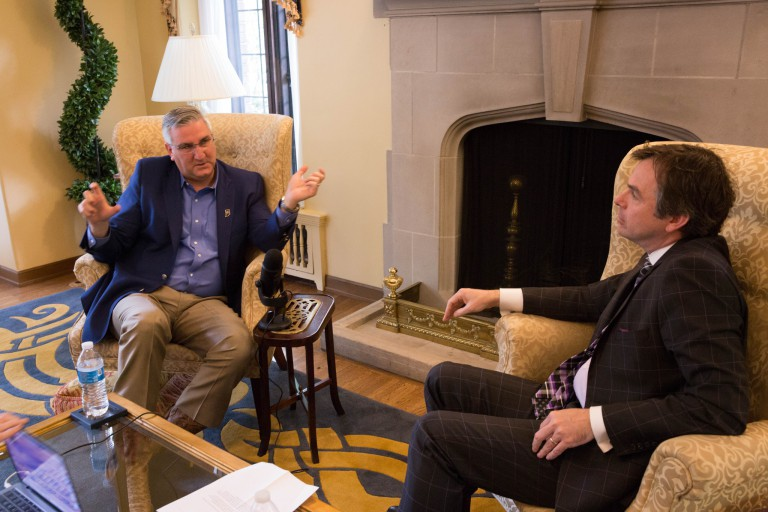Governor Holcomb talks for podcast