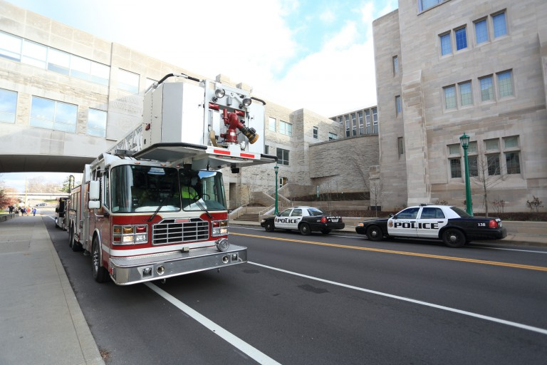 A fire truck on the IU Bloomington campus