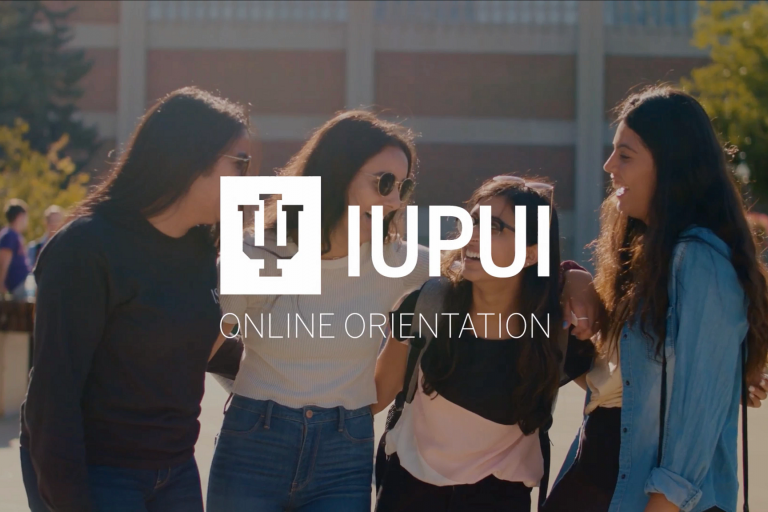 "Four students walking on campus with words ""IUPUI Online Orientation"" layered on top"