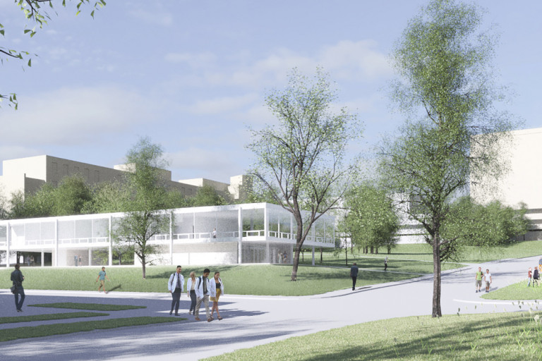 Rendering of the building designed by Mies van der Rohe