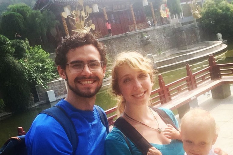 Jake Whiteside, and his wife and toddler, visit traditional sites in China.