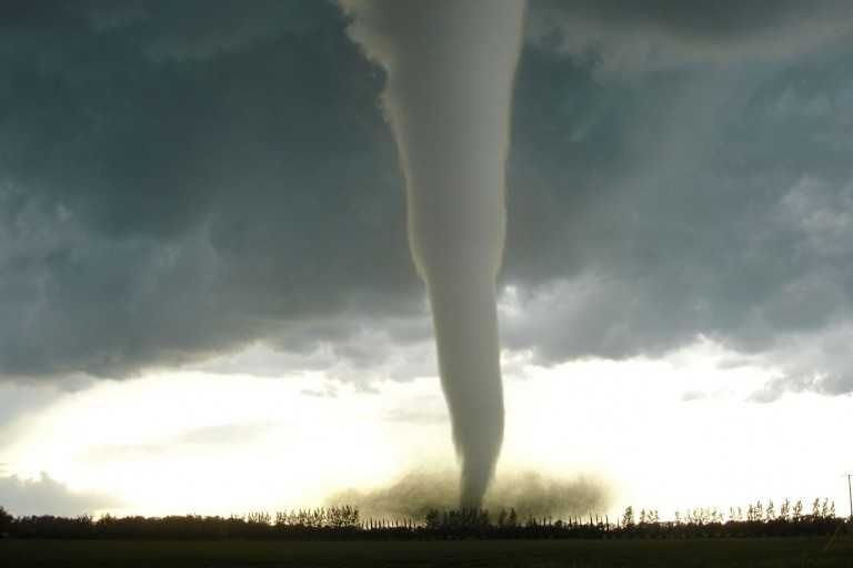 A tornado in a stormy landscape
