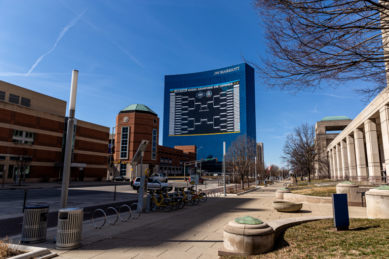 The 2021 NCAA bracket on the side of the JW Marriott hotel in downtown Indianapolis.