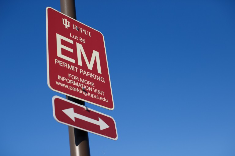 an IUPUI parking sign