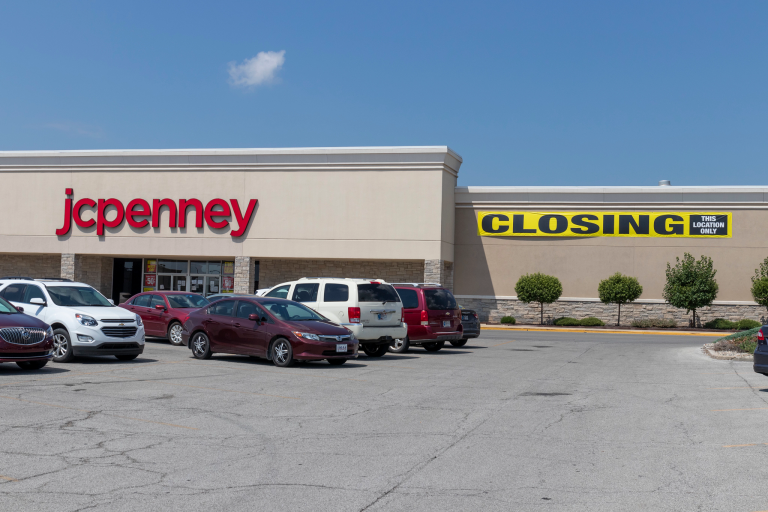J.C. Penney store exterior with closing sign