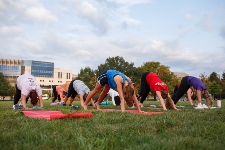 Students doing yoga poses on the lawn.