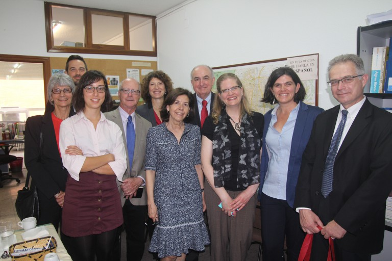 IU delegation members pose for a picture with Madrid Program staff