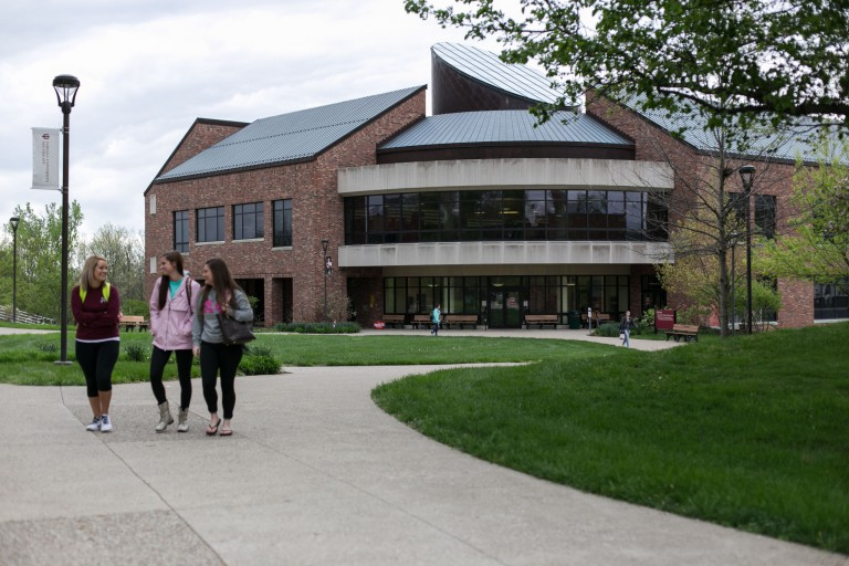 Students walking on the IU Southeast campus