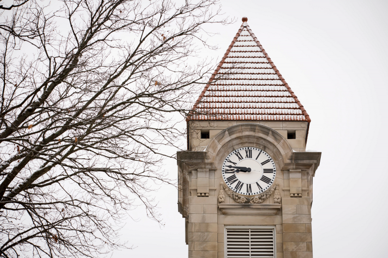 The clock tower on the Student Building on a winter day at IU Bloomington.