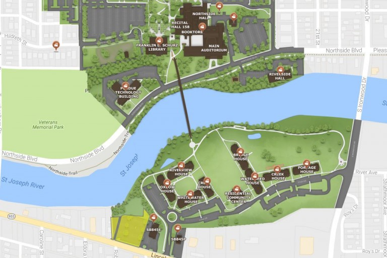 The IU South Bend campus is depicted on a new digital map.