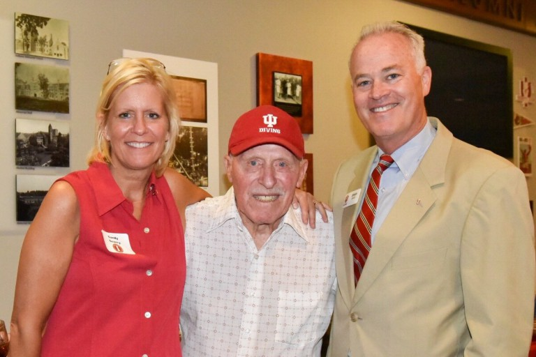 Sandy Searcy, Hobie Billingsley and Brian Brase pose at Hobie's 90th birthday party.