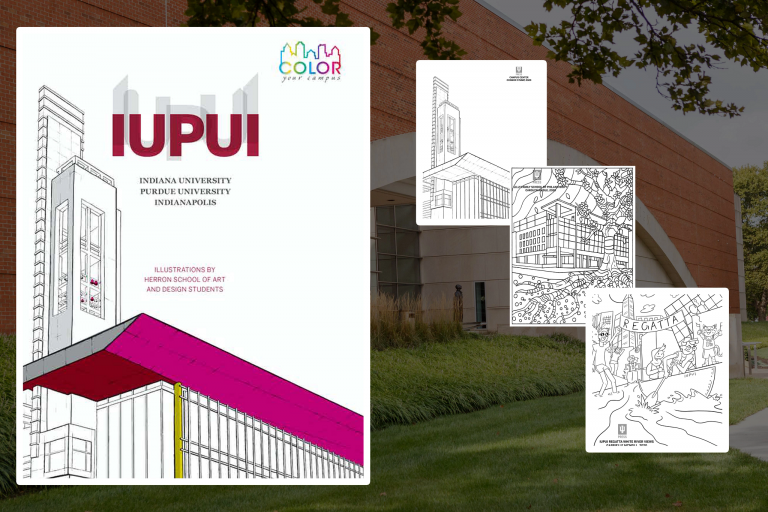 the cover of the color your campus book with sample pages next to it