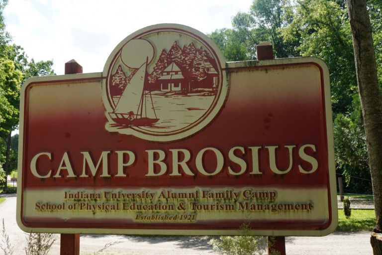A sign that reads Camp Brosius