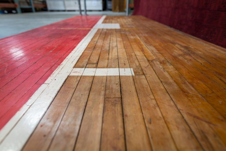 Pieces of the old IU Fieldhouse basketball court floor