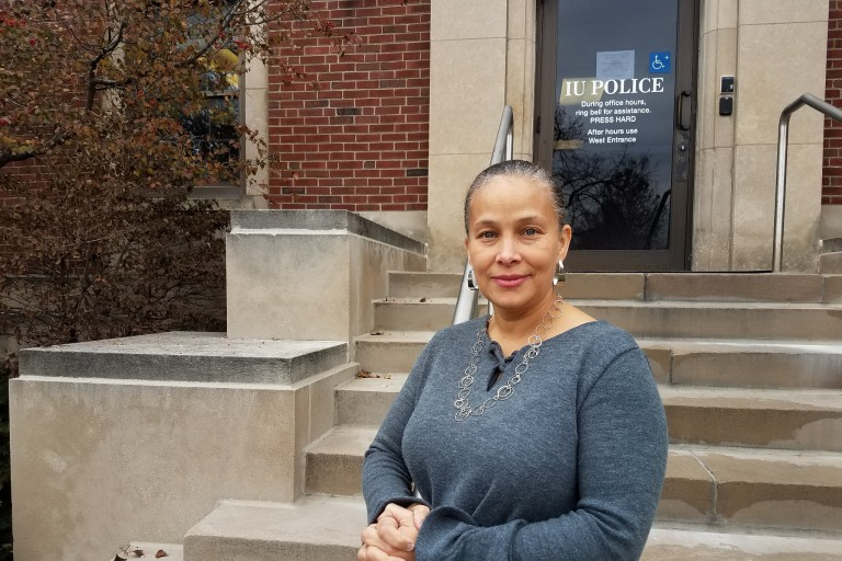 Kimberly Minor stands outside of an IUPD office.