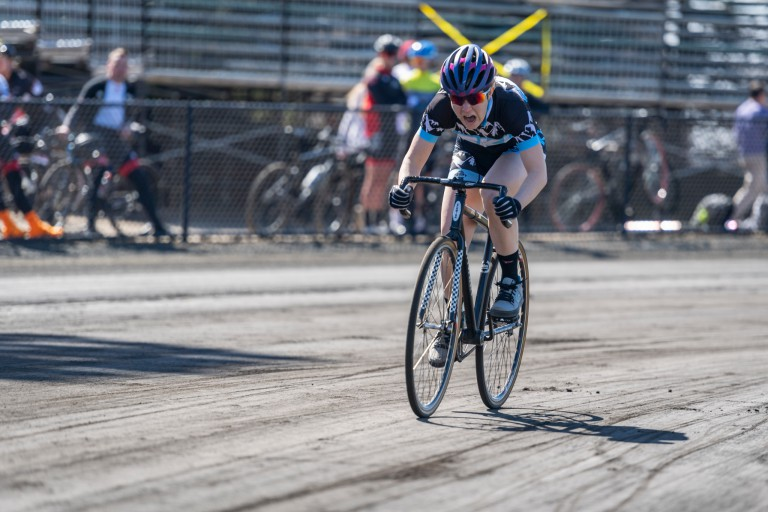 A rider goes around the track during Little 500 qualifications