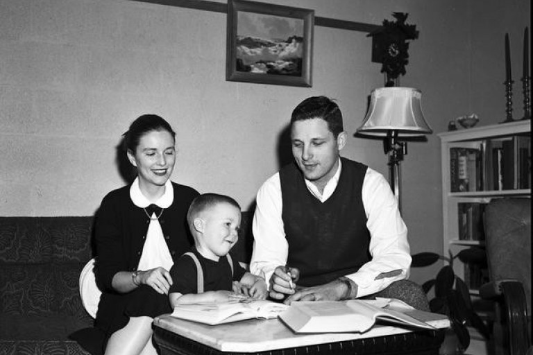 Birch Bayh sits with his family
