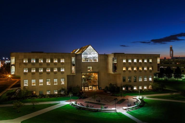 IUPUI University Library at night
