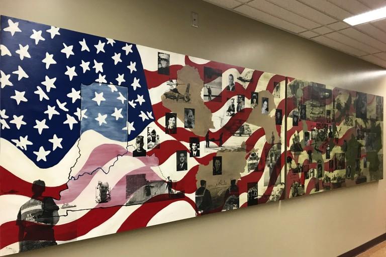A veterans' mural at IU Southeast.