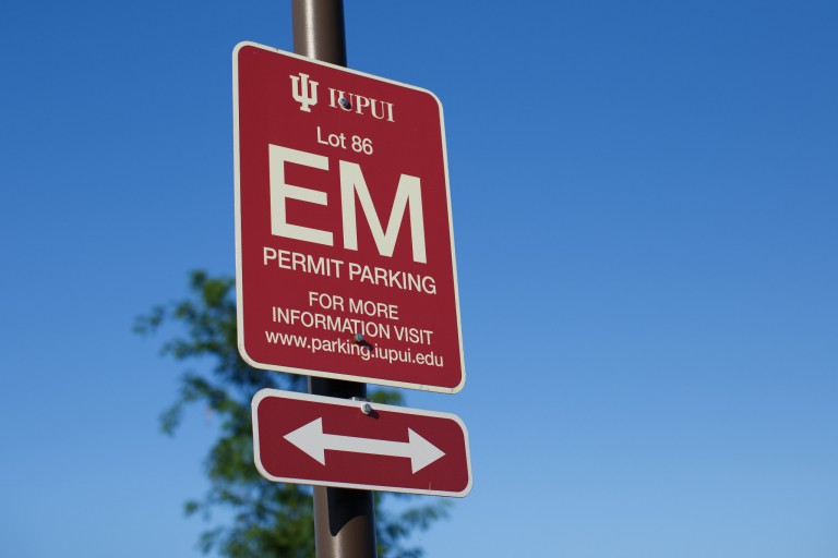 Photo of EM parking lot sign on IUPUI's campus.