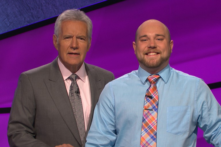 IUPUI student Ryan Hughey with Jeopardy host Alex Trebek
