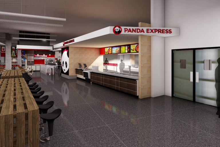 A rendering of the new Campus Center food court