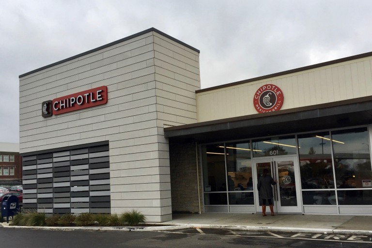 The exterior of the Chipotle near IUPUI