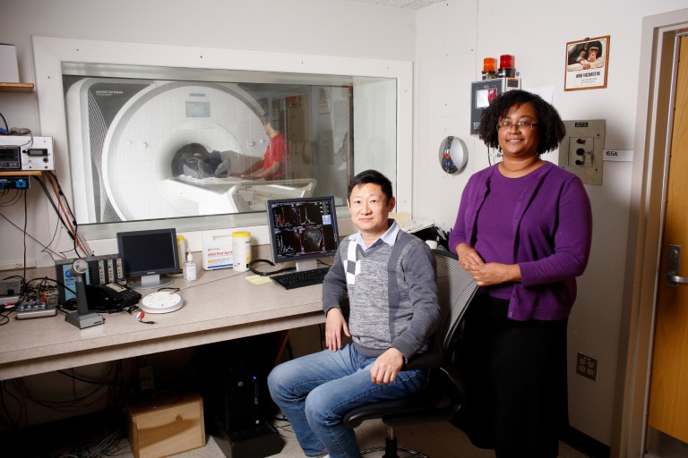 IU professor Sharlene Newman and senior scientist Hu Cheng