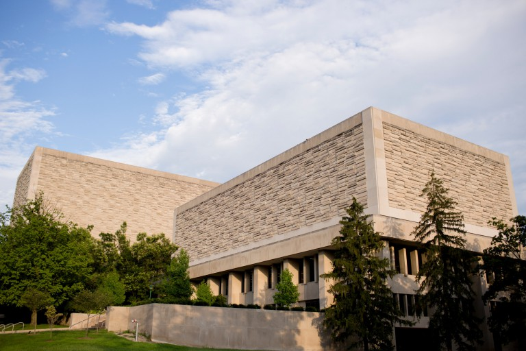 The exterior of the Herman B Wells Library on IU Bloomington's campus
