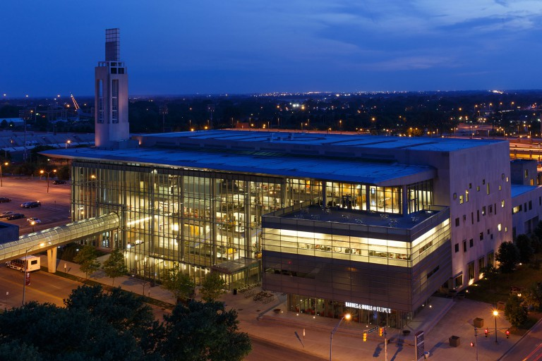 The Campus Center shines at night